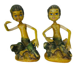 Vintage Mcm 60's Pixie Elves Set Of Two Made In Hong Kong