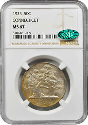 1935 Connecticut Commemorative Half Ms-67 Ngc/cac Certified - Color