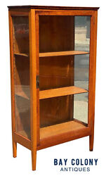 20th C Antique Arts And Crafts Tiger Oak Single Door Bookcase / China Cabinet