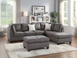 Living Room Furniture Grey Sectional Sofa Set Cushion Ottoman Couch Microfiber