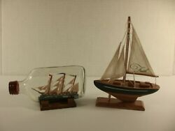 Lot Of 2 Model Ships Uss Constitution In A Bottle And Faith - Vintage Nautical