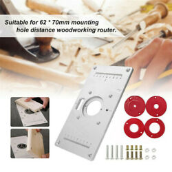 Aluminum Router Table Insert Plate W/ 4 Rings Screws For Woodworking Benches