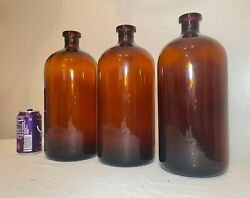3 Large Antique S-k-f Amber Glass Apothecary Science Medical Jar Bottles