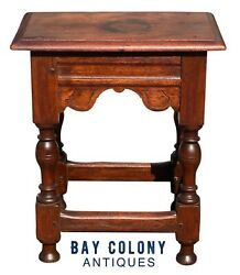 17th C Antique Oak Carved Joint Stool