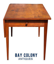 19th C Antique Federal Period Cherry Hepplewhite Drop Leaf Bakers Table