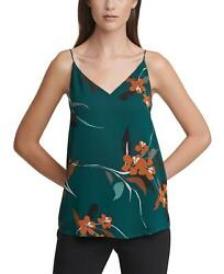 Nwt Calvin Klein Womenand039s Floral Print V-neck Camisole Top. S08th46s