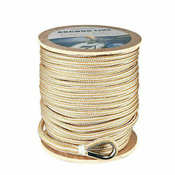 3/8 X600' Double Braid Nylon Rope Boat Dock Anchor Line With Stainless Thimble