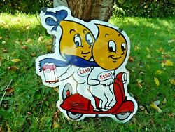 Esso Scooter Porcelain Sign 20 Vintage Advertising Pump Collectible Us Gas Oil