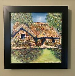 Irish Thatched Roof Cottage 10x10 Original Oil Painting Signed Ireland Framed