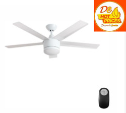 Merwry 52'' Integrated Led Indoor White Ceiling Fan With Light Kit And Remote Hdc