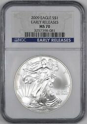 2009 American Silver Eagle Early Release 1 - Ngc Ms70 -