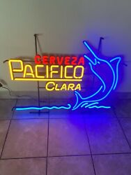 Pacifico Beer Marlin Fish Light Up Led Multicolor Bar Sign Game Room Man Cave