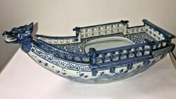 Antique/ Vintage Chinese Blue And White Porcelain Boat