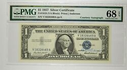 Courtesy Autographed Fr. 1619 1957 1 Silver Certificate Pmg 68 Epq