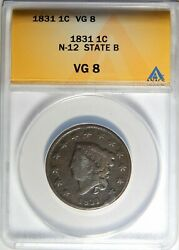 1831 Coronet Head Large Cent N-12 State B Anacs Vg-08