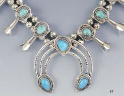 Vtg Old Pawn American Indian Sterling Silver And Turquoise Squash Blossom Necklace