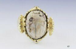 Unique 18k Gold And Antique Egyptian Pottery Scarab Beetle Ring