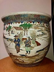 Antique/ Vintage Chinese Enameled Painted Porcelain Jardiniere Height 17 1/2
