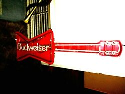 Vintage 1987 Budweiser Heavy Metal Electric Neon Axe Sign Standing Or Wall Mount
