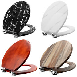 Wooden Toilet Seat With Quiet Close Elongated Cover Wood Brown Classic Style New