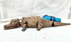 1950s Vintage Battery Operated Crocodile Remote Tin Toy Rare Working Japan 17.5