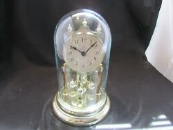 Anniversary Clock With Flower Face And Glass Dome Works Battery