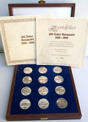 1986 Rare German Set 12 Silver Coins 100 Years Automobiles Opel Mercedes Ford