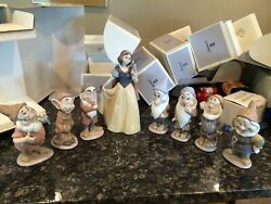 Lladro Figurines Snow White And The Seven Dwarfs Disney Signed