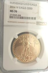 2014 W American Burnished Gold Eagle G50 Ngc Ms70