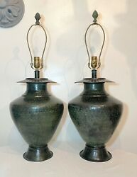 Large Pair Of Modern Hand Made Hand Hammered Patinated Bronze Table Lamps