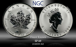 1998 Canada 5 Maple Leaf Titanic Privy Ngc Sp 69 Silver Finest Known I