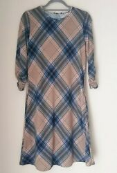 Robert Louis Women#x27;s Plaid 3 4 Sleeve Casual Dress with scarf Size S $19.99