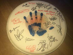 Blue Man Group Vegas Show Used Drum Cover Signed By Each Member Remo Very Good