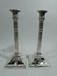 George Iii Candlesticks - Antique Georgian Classical - English Sterling Silver