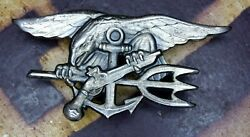 Rare Vietnam War 1970and039s U.s Navy Seal Enlisted Trident Badge 1/20 Silver Filled