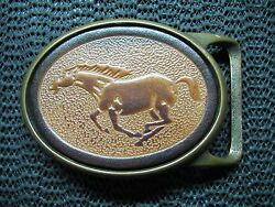 Galloping Horse Leather Belt Buckle Vintage Rare 1970s Tech Ether X Colonial