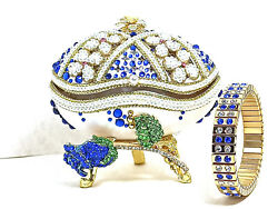 Faberge Egg Jewelry Box Gift For Women Musical Fabergandeacute Egg Present 24k Gold Blue