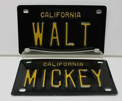 Collectible License Plates 1960s Mini Vanity Plates -magical Pair- Walt And Mickey