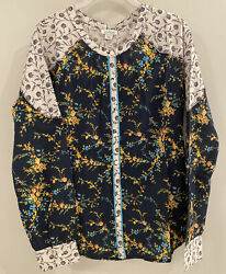 Nwt Sundance Catalog Navy Floral Andldquostories To Be Toldandrdquo Top Size S 88
