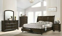 5pc Master Bedroom Brown Finish Queen Size Storage Fb Bed Wooden Furniture Set