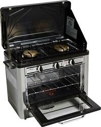Outdoor Oven 2 Burner Propane Stove Portable Steel Camping Patio Cooking