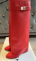 Pre-loved Givenchy Shark Lock Boots Red Eu 38.5/ Us 8 ❤️