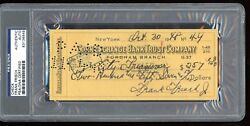Frankie Frisch Signed Check Autograph PSA DNA Dated 1948 Fordham Flash D.1973