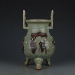 Chinese Antique 11thc Song Dynasty Jun Ware Porcelain Three Legs Incense Burners