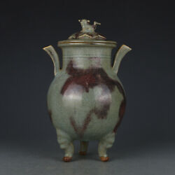 Chinese Antique 11thc Song Dynasty Jun Ware Porcelain Three Legs Incense Furnace