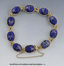 Best Quality 18k Yellow Gold And Carved Lapis Lazuli Stone Scarab Beetle Bracelet