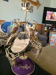 Crown Royal Display Tree With Hooks And Purple Skirt And 9 Mini Bags