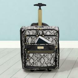 Samantha Brown Python Embossed Rolling Cabin Underseater White/black Nwt