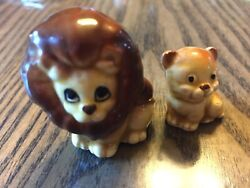 Vintage figurines adult and baby lion porcelain made in Japan