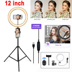 12'' Ring Light Led With 1.9m Tripod Stand Photo Selfie Dimmable Makeup Lamp Us